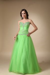 Idaho Spring Green Sweetheart Beading Appliques Graduation Dresses