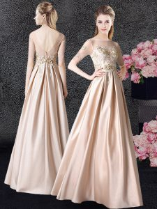 Scoop Half Sleeves Floor Length Appliques Zipper Vestidos de Quinceanera with Champagne