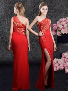 Floor Length Red 15th Birthday Dress One Shoulder Sleeveless Side Zipper