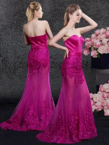 Great Mermaid Lace and Appliques Vestidos de Quinceanera Fuchsia Zipper Sleeveless Floor Length Sweep Train