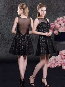 Custom Designed A-line Quince Ball Gowns Black Bateau Lace Sleeveless Mini Length Side Zipper