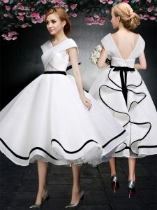 White Vestidos de Quinceanera Prom with Lace V-neck Cap Sleeves Zipper