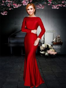 Off the Shoulder Red Long Sleeves Ankle Length Ruching Zipper 15th Birthday Dress