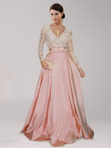 Peach Long Sleeves Asymmetrical Beading and Belt Zipper Party Dress Wholesale
