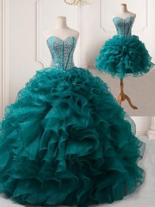 Peacock Green Lace Up Party Dress Wholesale Beading and Ruffles Sleeveless Floor Length