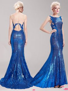 Mermaid Square Appliques and Sequins Quinceanera Dresses Blue Clasp Handle Sleeveless With Brush Train
