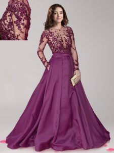 Scoop Beading Quinceanera Dresses Dark Purple Zipper Long Sleeves With Brush Train