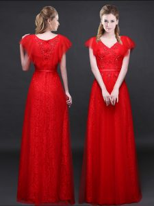 Discount Red Empire Tulle and Lace V-neck Short Sleeves Appliques and Belt Floor Length Zipper Vestidos de Quinceanera