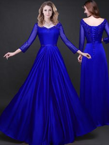 Smart Long Sleeves Elastic Woven Satin Floor Length Lace Up Quinceanera Dress in Royal Blue with Appliques and Belt