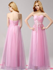 Hot Selling Rose Pink Tulle Lace Up Quince Ball Gowns Sleeveless Floor Length Beading and Appliques