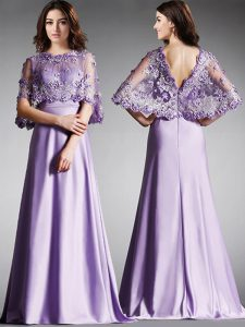 Perfect Scoop Floor Length Lavender Ball Gown Prom Dress Satin Half Sleeves Lace