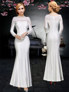 Hot Selling Off the Shoulder White Long Sleeves Elastic Woven Satin Backless Quinceanera Gown for Prom