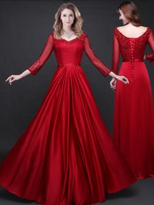 Low Price Wine Red Quince Ball Gowns Prom with Appliques and Belt Long Sleeves Lace Up