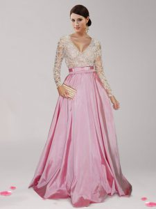 Artistic Beading and Belt Ball Gown Prom Dress Pink And White Zipper Long Sleeves Floor Length