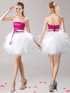 Elegant Pink And White Ball Gowns Strapless Sleeveless Tulle Mini Length Lace Up Ruffles and Bowknot Sweet 16 Dresses