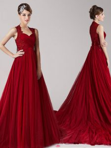 Dazzling Wine Red Empire Straps Sleeveless Tulle Court Train Side Zipper Appliques Quinceanera Dress