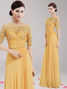 Traditional Gold Ball Gown Prom Dress Prom with Appliques and Belt Scoop Half Sleeves Zipper