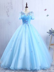 Charming Scoop Short Sleeves Organza Floor Length Lace Up Quinceanera Gown in Baby Blue with Appliques and Ruching