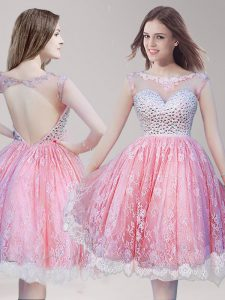 Lace Pink And White Party Dresses Prom and Party with Beading Scoop Sleeveless Backless