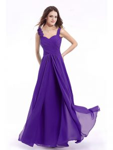 Beauteous Purple Sweet 16 Dress Prom with Hand Made Flower Straps Sleeveless Zipper