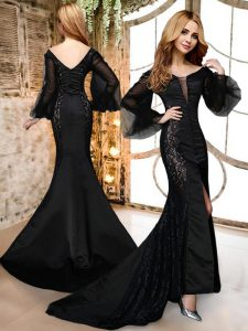 Black Mermaid V-neck Long Sleeves Satin and Lace With Brush Train Zipper Lace Sweet 16 Dress