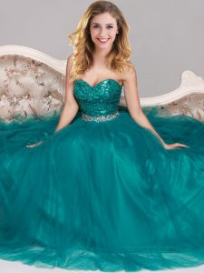 Peacock Green Empire Sweetheart Sleeveless Tulle Floor Length Zipper Sequins Ball Gown Prom Dress