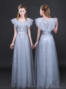 Low Price Grey Tulle and Lace Zipper Quinceanera Gown Short Sleeves Floor Length Appliques and Belt