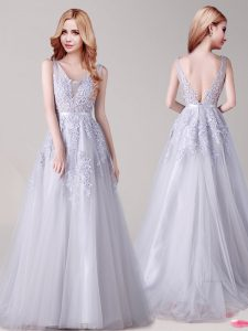 Modest V-neck Sleeveless Backless 15 Quinceanera Dress Silver Tulle
