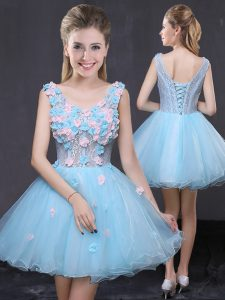 Baby Blue Sleeveless Organza Lace Up Sweet 16 Dresses for Prom and Party