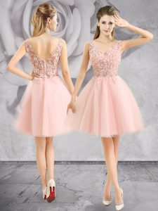 High Class Sleeveless Mini Length Appliques Zipper Quinceanera Dresses with Baby Pink