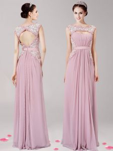 Dramatic Chiffon Scoop Sleeveless Zipper Appliques Sweet 16 Quinceanera Dress in Pink