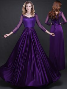 Sophisticated Purple Long Sleeves Appliques and Belt Floor Length 15th Birthday Dress