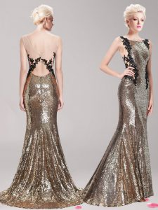 Elegant Square Sequins With Train Mermaid Sleeveless Brown Ball Gown Prom Dress Brush Train Clasp Handle