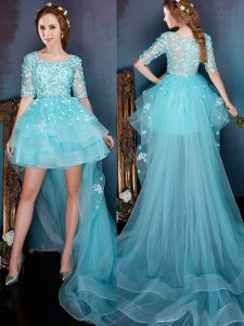 Fine Square Half Sleeves High Low Beading Zipper Quinceanera Gowns with Aqua Blue