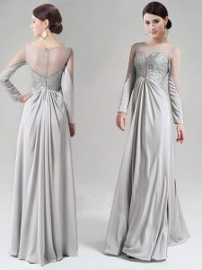 Silver Empire Scoop Long Sleeves Chiffon Floor Length Zipper Beading and Lace Sweet 16 Dresses