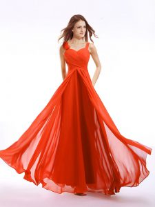 Noble Straps Orange Red Sleeveless Hand Made Flower Floor Length Vestidos de Quinceanera