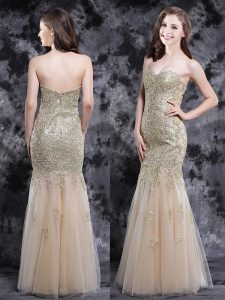 Dynamic Mermaid Sleeveless Zipper Floor Length Appliques Quinceanera Gowns