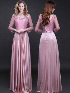 Pink Elastic Woven Satin Lace Up Quinceanera Gowns Long Sleeves Floor Length Appliques and Belt