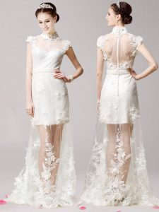 White High-neck Neckline Lace and Appliques Quinceanera Dresses Cap Sleeves Clasp Handle