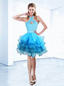 Perfect Halter Top Floor Length Ball Gowns Sleeveless Baby Blue Vestidos de Quinceanera Zipper
