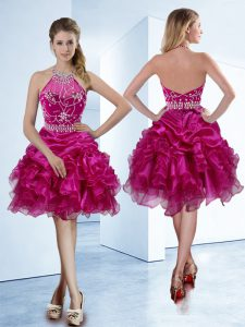 Inexpensive Halter Top Fuchsia Sleeveless Beading and Ruffles and Pick Ups Knee Length Sweet 16 Quinceanera Dress