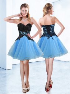 Dramatic Blue And Black Organza Lace Up Sweetheart Sleeveless Mini Length Sweet 16 Dress Appliques