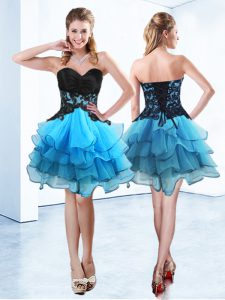 Blue And Black Lace Up Quinceanera Gown Ruffled Layers Sleeveless Mini Length