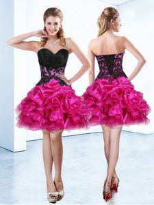 Decent Mini Length Lace Up Sweet 16 Quinceanera Dress Fuchsia for Prom and Party with Beading and Ruffles and Pick Ups