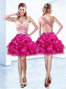 Fuchsia A-line One Shoulder Sleeveless Organza Knee Length Criss Cross Beading and Ruffles and Pick Ups 15 Quinceanera Dress