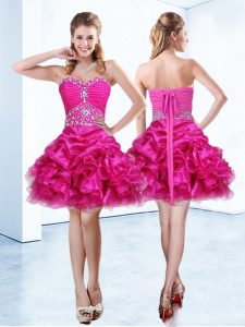 Sophisticated Hot Pink Ball Gowns Beading and Ruffles and Pick Ups Quinceanera Gowns Lace Up Organza Sleeveless Mini Length