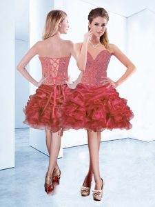 Custom Made Coral Red Ball Gown Prom Dress Prom and Party with Beading and Ruffles and Pick Ups Sweetheart Sleeveless Lace Up