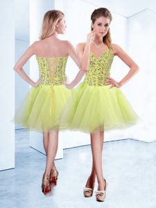 Yellow Green Quince Ball Gowns Prom and Party with Beading Sweetheart Sleeveless Lace Up