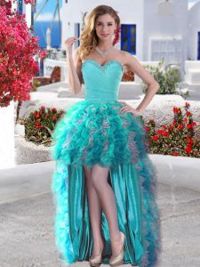Glorious High Low Lace Up Ball Gown Prom Dress Aqua Blue for Prom and Party with Beading and Ruffles