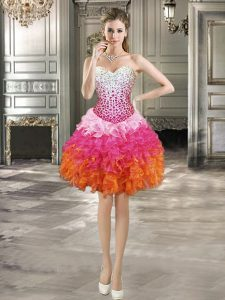 Great Mini Length Lace Up Ball Gown Prom Dress Multi-color for Prom and Party with Beading and Ruffles